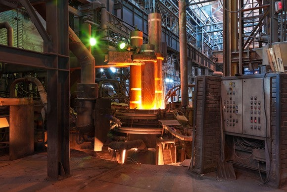 An electric arc furnace.