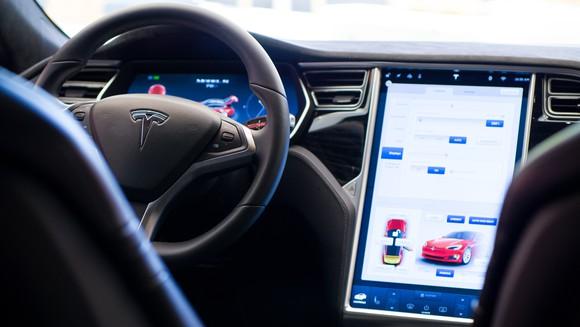Model S interior and center console touchscreen