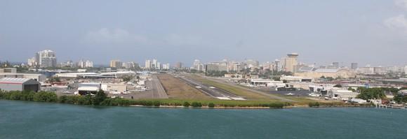 The San Juan Airport during an approach for landing.