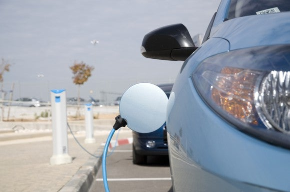 Amidst a blue sky background, a light blue electric car is charging at a charging station in what looks like a parking area.