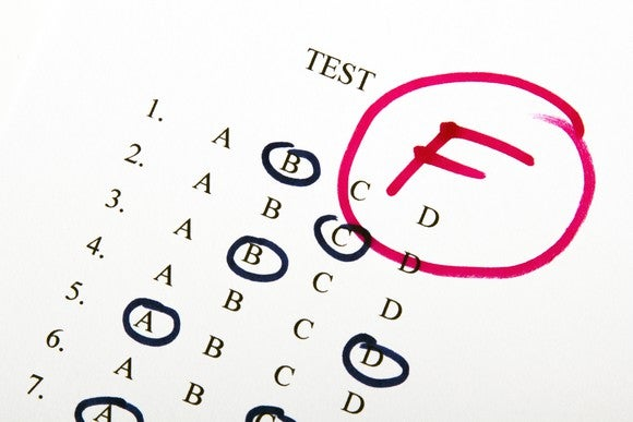 A multiple choice test with an F in red ink written on it.