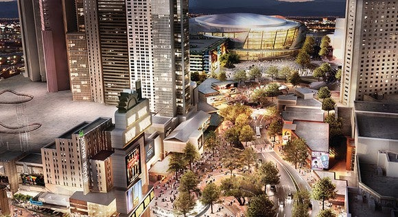 Rendering of T-Mobile Arena behind New York-New York.