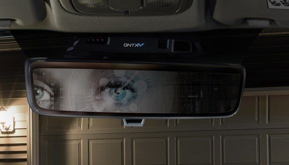 Eyes reflecting in Gentex's biometric auto mirror product.