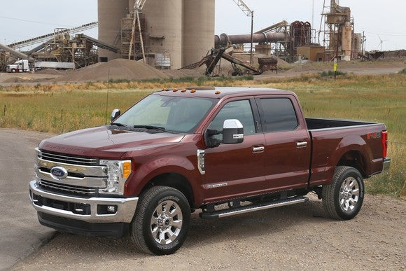A red 2017 Ford Super Duty pickup.