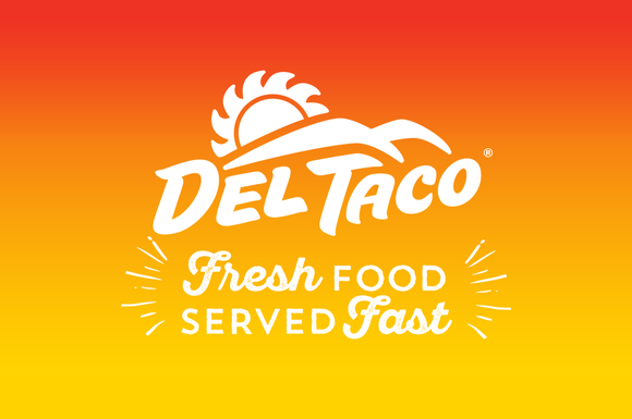 "Del Taco logo with phrase ""Fresh Food Served Fast"""