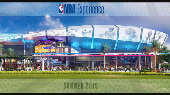 Concept art of the exterior of The NBA Experience, an arena-like building that will open in the summer of 2019.