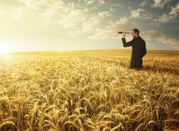 Standing in a field of wheat, a man in a black suit looks through a telescope toward the horizon.