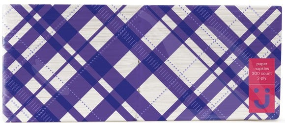 Two-ply napkins in purple and white plaid package