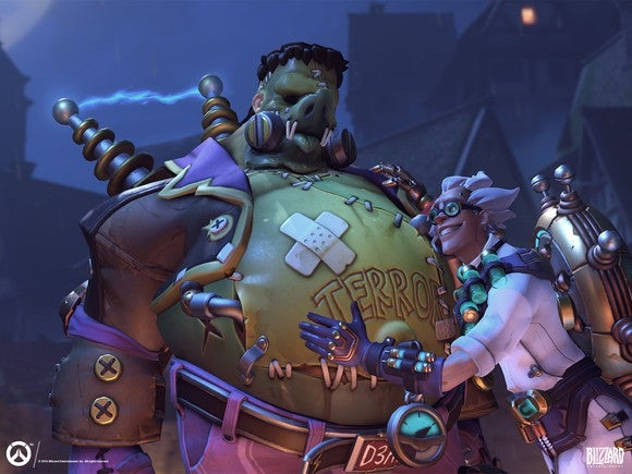 Two Overwatch characters made up as Frankenstein and a scientist.
