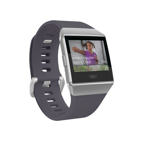 Fitbit Ionic watch with Fitbit Coach exercise video shown on face.