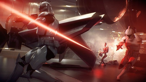 """A droid firing a laser at stromtroopers in EA's """"Star Wars Battlefront II."""""""