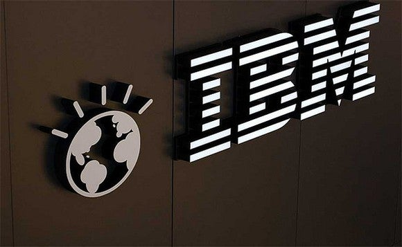 Close-up picture of the IBM logo and name on one of its offices.