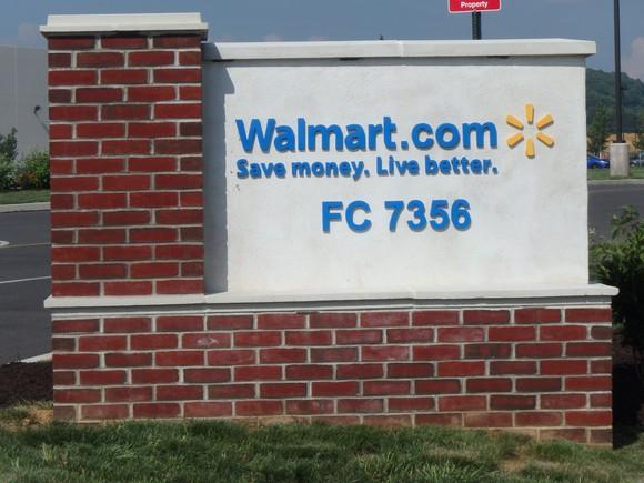 The entrance sign to Walmart.com's fulfillment center in Pennsylvania