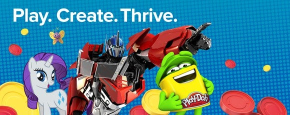 """""""Play. Create. Thrive."""" written above images of My Little Pony, a can of Play-Doh, and a Transformer toy amid a blue background."""