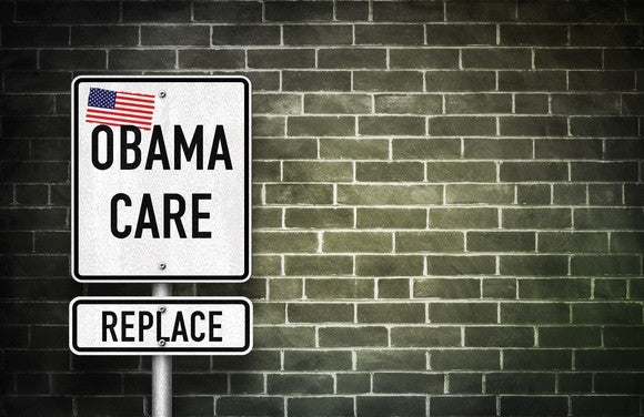 "A street sign reading: ""Obamacare, Replace,"" with an American flag on it"