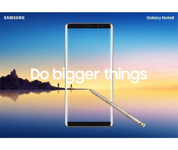 "Samsung Galaxy Note8 advertisement featuring the phone overlaid with the text ""Do Bigger Things"" on a background featuring a landscape picture of people hiking on a jetty"