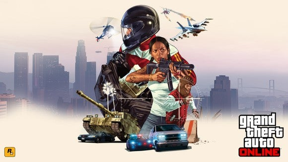 Game art for Grand Theft Auto Online depicting a city skyline with a graphic of in-game characters, vehicles, a helicopter, and fighter jet in the foreground.