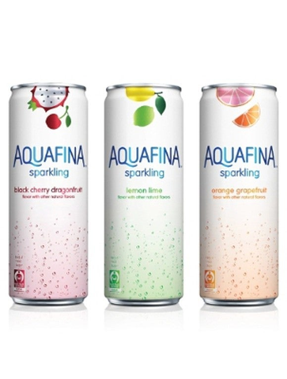 Three cans of Aquafina sparkling water.