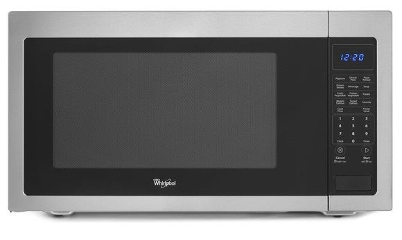 Whirlpool microwave oven in black with white trim.