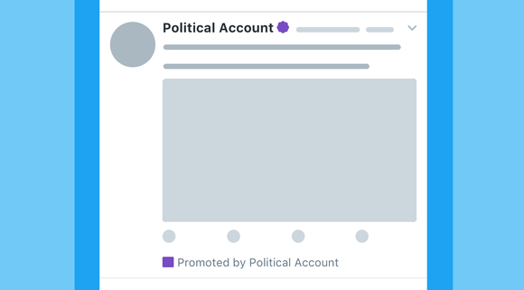 Image of a mock-up political account on Twitter.