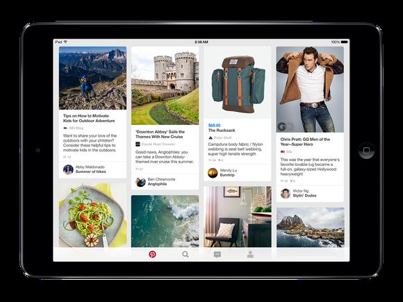Pinterest app running on an iPad.