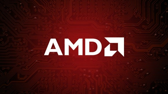 The AMD logo on a red background.