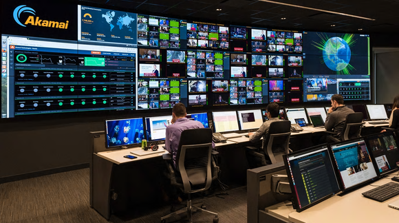 Akamai operations center with world maps showing traffic activity and a variety of television monitors and other sensing equipment.