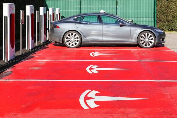 Tesla Model S at a supercharging station.