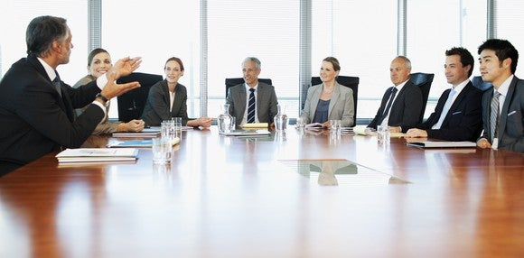 executives sit around a boardroom table having a discussion