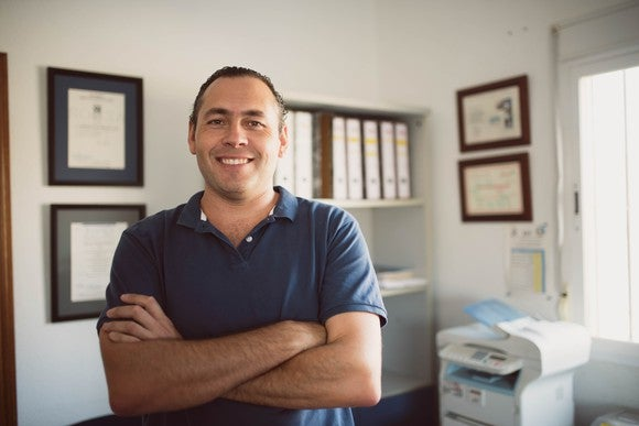 Smiling man in polo shirt