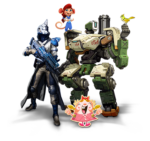 Four characters from four different Activision Blizzard series (Overwatch, Destiny, Candy Crush, and Hearthstone) standing together.