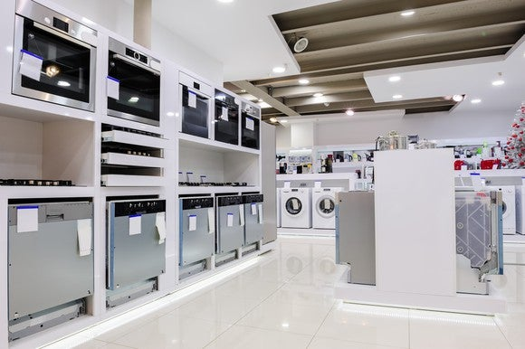 Inside a home appliance store with dishwashers shown
