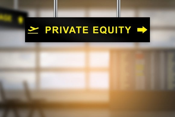 """Fabricated sign in style of an airport directional sign with """"private equity"""" indicated on it."""