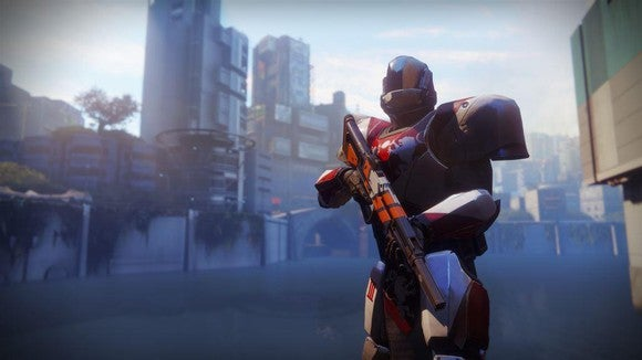 Screenshot of Activision Blizzard's Destiny video game depicting a robotic character holding a gun against a city backdrop.