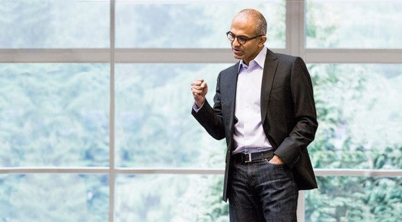 Microsoft CEO Satya Nadella fist pumping.