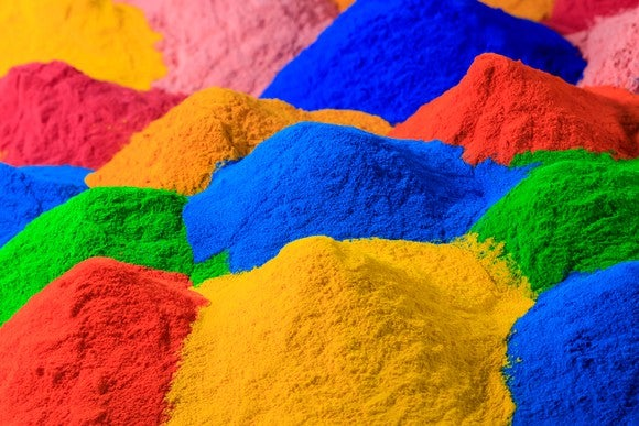 Multiple colors of powder for coatings.