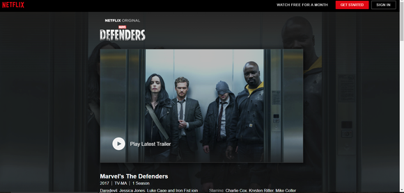 Netflix landing page for Marvel's The Defenders.