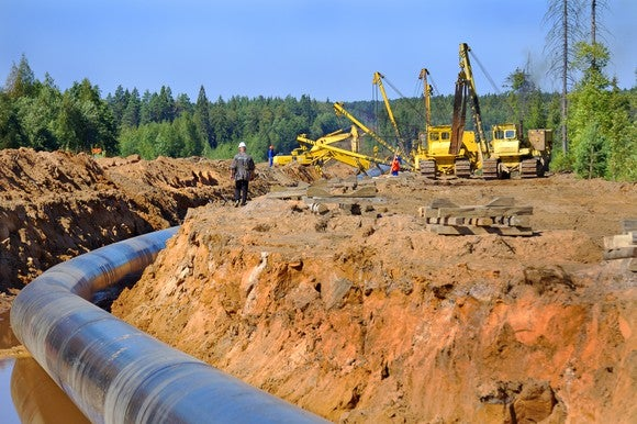 Pipeline under construction with cranes in the background.