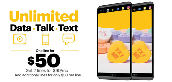 A Sprint ad touting unliited data, talk, and text for $50.
