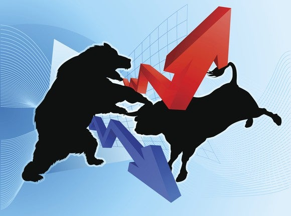 A drawing of a bull and a bear fighting, with a red arrow pointing up and a blue arrow pointing down.