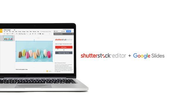 Laptop running Shutterstock's editor program along with a tech company's slide service.
