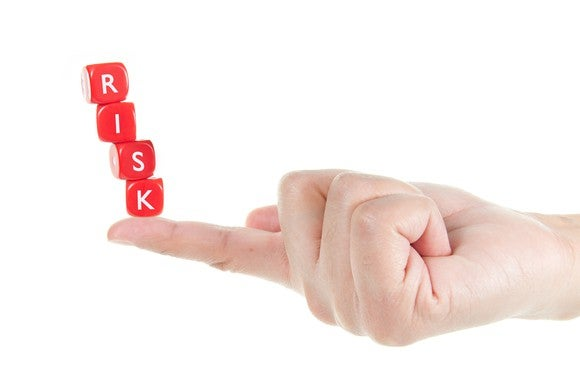 Red blocks spelling out risk balanced on a person's index finger