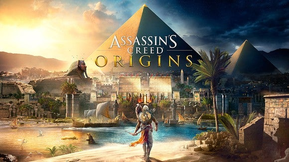 Game art of Assassin's Creed video game depicting an ancient Egyptian landscape.