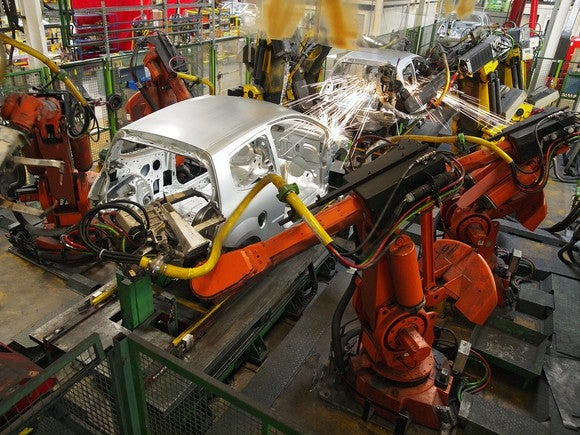 an automated car production line