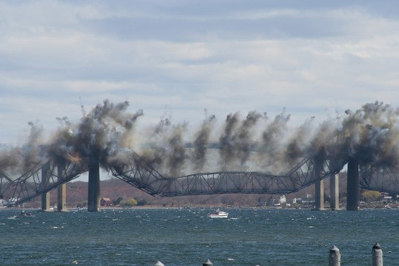 Bridge being blown up