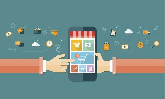 Phone with an image of e-commerce shopping cart and merchandise for sale.
