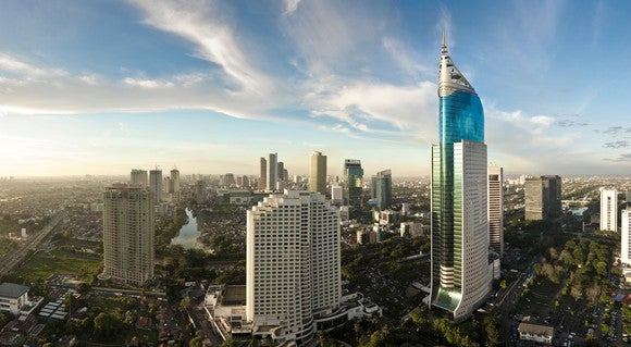 The skyline of Indonesian capital Jakarta.
