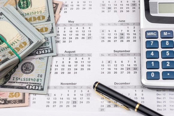 A desk calendar with a calculator, pen, and 100 dollar bills on it.