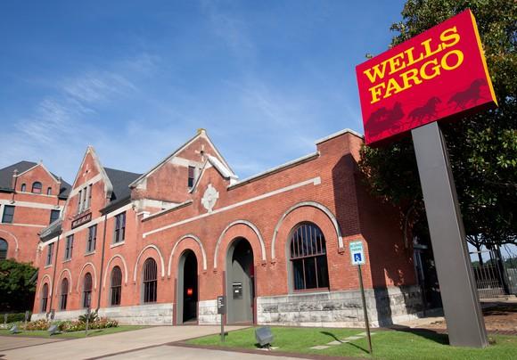 The exterior of a Wells Fargo branch.