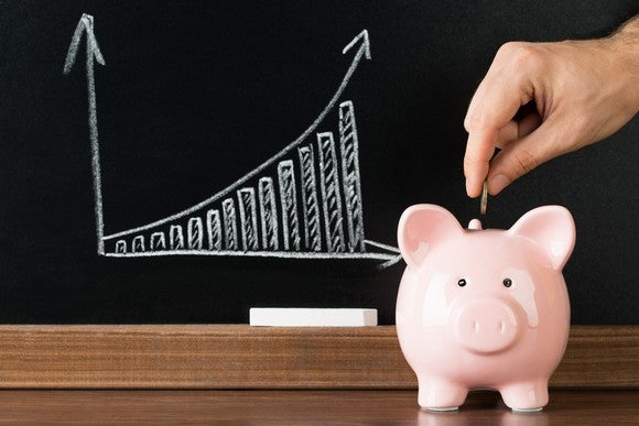 A piggybank in front of a chart showing financial gains